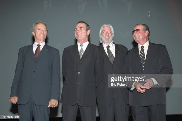 Clint Eastwood director of 'Space Cowboys' with the main actors who appear in the film Tommy Lee Jones Donald Sutherland and James Garner