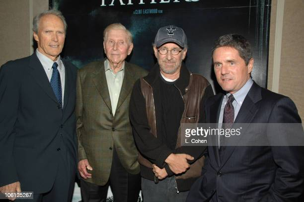 Clint Eastwood director Sumner Redstone of Viacom Steven Spielberg producer and Brad Grey of Paramount Pictures