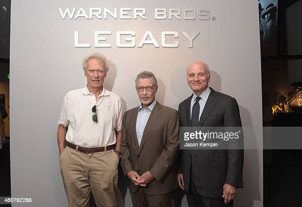 Clint Eastwood former Warner Bros Chairman CEO Barry Meyer and Warner Bros Entertainment Vice Chairman Ed Romano attend the Warner Bros Studio Tour...