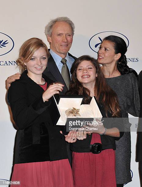 Clint Eastwood his daughters Francesca FisherEastwood Morgane Eastwood and wife Dina Eastwood attend Cannes Film Festival President's Tribute to...