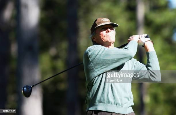 Clint Eastwood hits a shot during the first round of the ATT National ProAm at Spyglass Hills Golf Course in Pebble Beach California