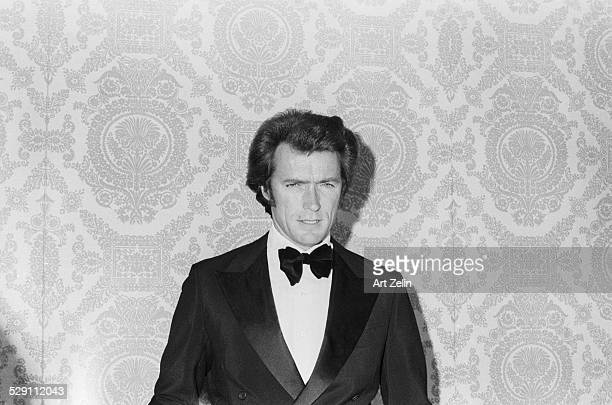 Clint Eastwood in formal black tie tuxedo circa 1970 New York
