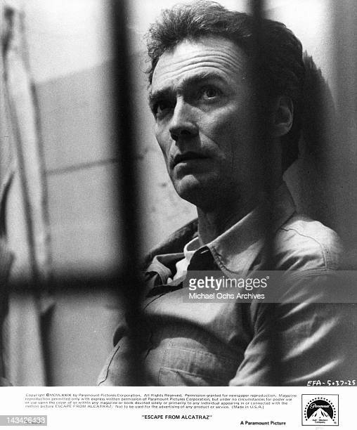 Clint Eastwood ponders his fate in a scene from the film 'Escape From Alcatraz' 1979