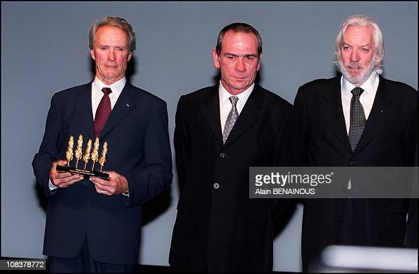 Clint Eastwood Tommy Lee Jones and Donald Sutherland in Deauville France on September 02 2000