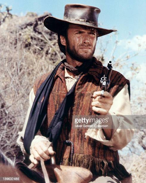 Clint Eastwood US actor in costume and pointing a handgun on horseback in a publicity portrait issued for the film 'Two Mules for Sister Sara' Mexico...