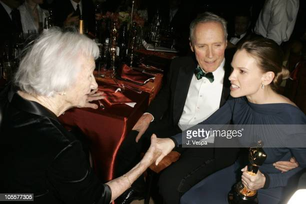 Clint Eastwood winner Best Picture and Best Director for Million Dollar Baby and his mother Ruth with Hilary Swank winner Best Actress in a Leading...