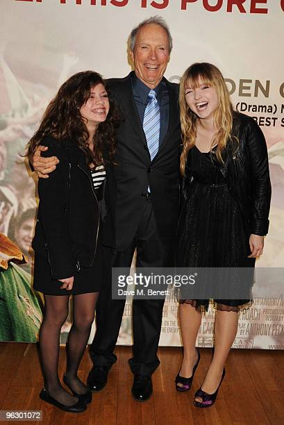 Clint Eastwood with his daughters Morgan and Francesca arrive at the UK film premiere of 'Invictus' at Odeon West End on January 31 2010 in London...