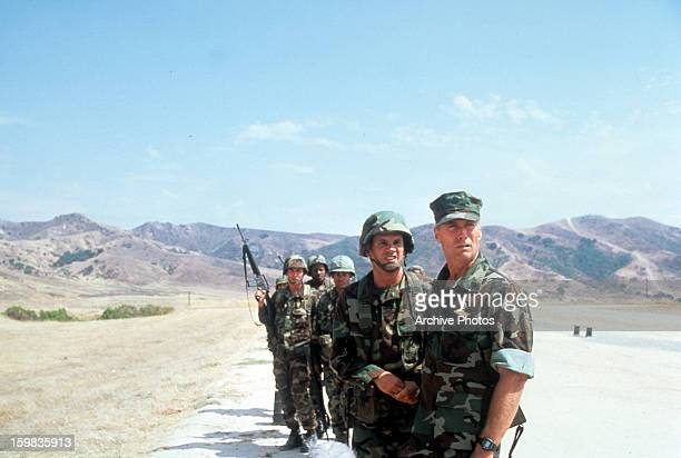 Clint Eastwood with his troops in a scene from the film 'Heartbreak Ridge' 1986