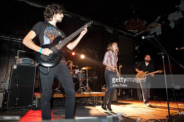 Clint Fowler Ryan Metcalf Juliet Simms and Tommy Simms of Automatic Loveletter perform in concert at The Emerson Theater on October 20 2010 in...