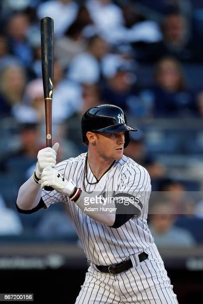 Clint Frazier of the New York Yankees at bat against the Toronto Blue Jays during the sixth inning at Yankee Stadium on October 1 2017 in the Bronx...