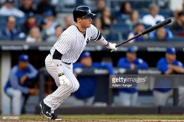 Clint Frazier of the New York Yankees at bat against the Toronto Blue Jays during the seventh inning at Yankee Stadium on October 1 2017 in the Bronx...
