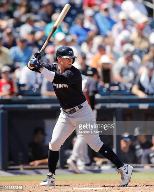 Clint Frazier of the New York Yankees at bat against the Washington Nationals during a Grapefruit League spring training game at FITTEAM Ballpark of...