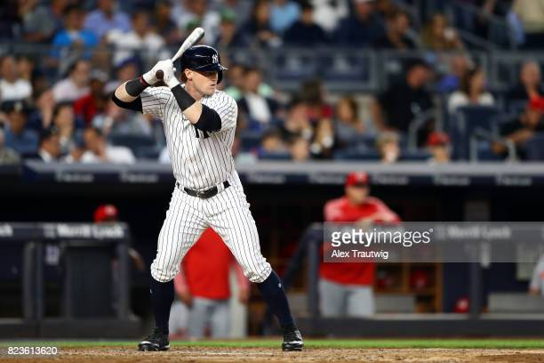 Clint Frazier of the New York Yankees bats during the game against the Cincinnati Reds at Yankee Stadium on Tuesday July 2017 in the Bronx borough of...