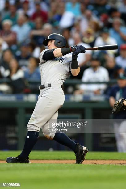 Clint Frazier of the New York Yankees bats during the game against the Seattle Mariners at Safeco Field on July 21 2017 in Seattle Washington The...