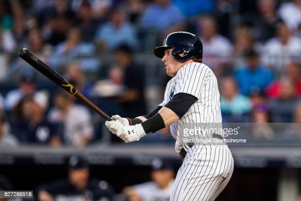 Clint Frazier of the New York Yankees bats during the game against the Detroit Tigers at Yankee Stadium on July 31 2017 in the Bronx borough of New...