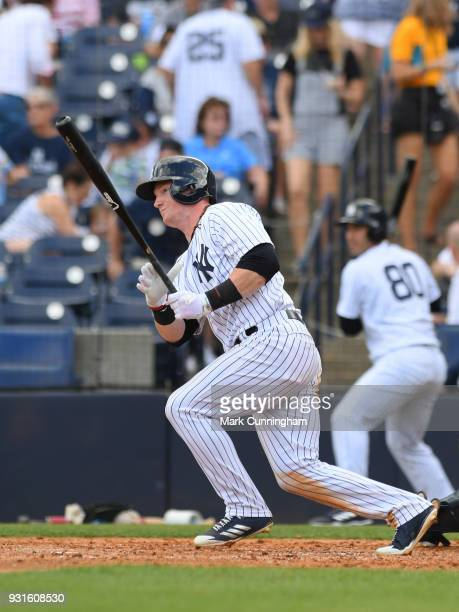 Clint Frazier of the New York Yankees bats during the Spring Training game against the Detroit Tigers at George M Steinbrenner Field on February 23...