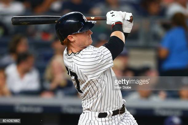 Clint Frazier of the New York Yankees connects on a 3run home run in the fifth inning against the Tampa Bay Rays at Yankee Stadium on July 28 2017 in...