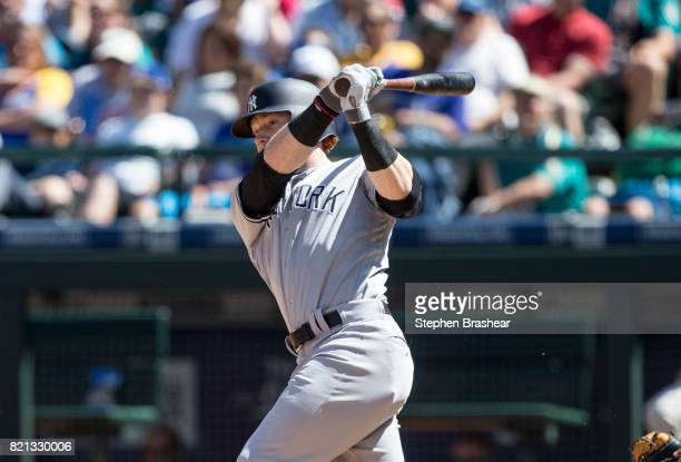 Clint Frazier of the New York Yankees hits a tworun double off of relief pitcher Tony Zych of the Seattle Mariners to score Todd Frazier of the New...