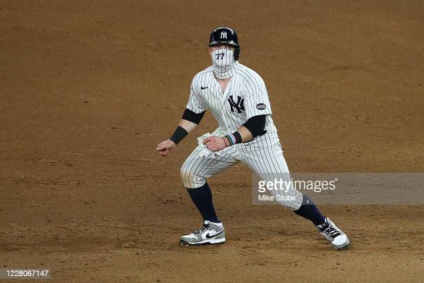 Clint Frazier of the New York Yankees in action against the Boston Red Sox at Yankee Stadium on August 15, 2020 in New York City. New York Yankees...