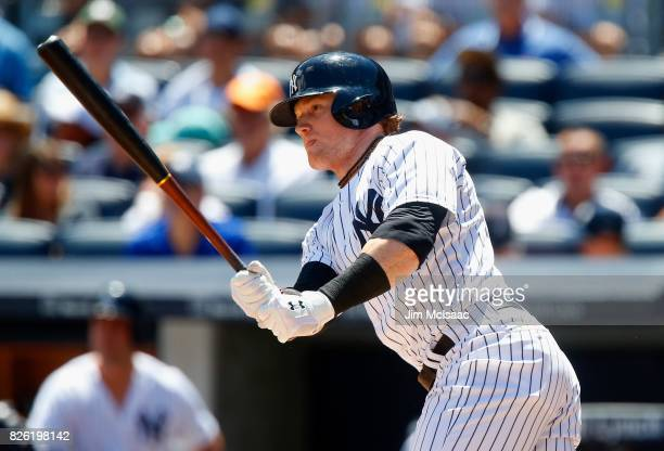 Clint Frazier of the New York Yankees in action against the Tampa Bay Rays at Yankee Stadium on July 30 2017 in the Bronx borough of New York City...
