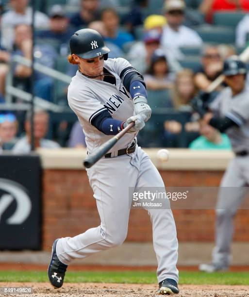 Clint Frazier of the New York Yankees in action against the Tampa Bay Rays at Citi Field on September 13 2017 in the Flushing neighborhood of the...