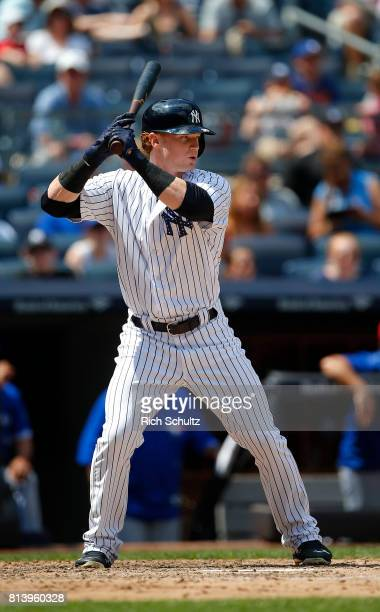 Clint Frazier of the New York Yankees in action against the Toronto Blue Jays during a game at Yankee Stadium on July 4 2017 in the Bronx borough of...