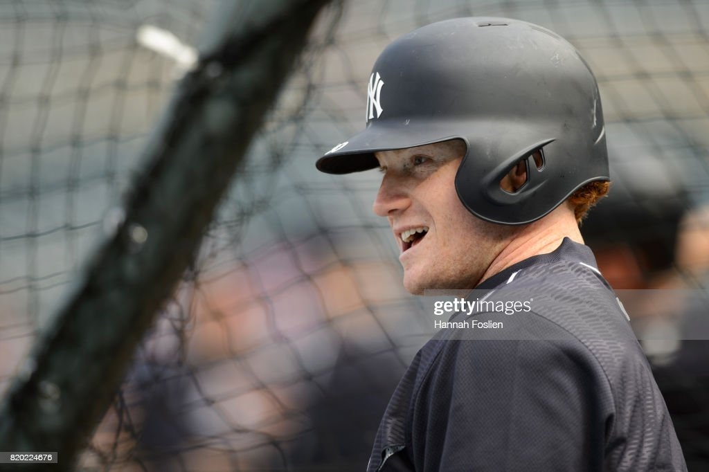 Clint Frazier #30 of the New York Yankees looks on during batting practice before the game against the Minnesota Twins on July 18, 2017 at Target Field in Minneapolis, Minnesota. The Yankees defeated the Twins 6-3.