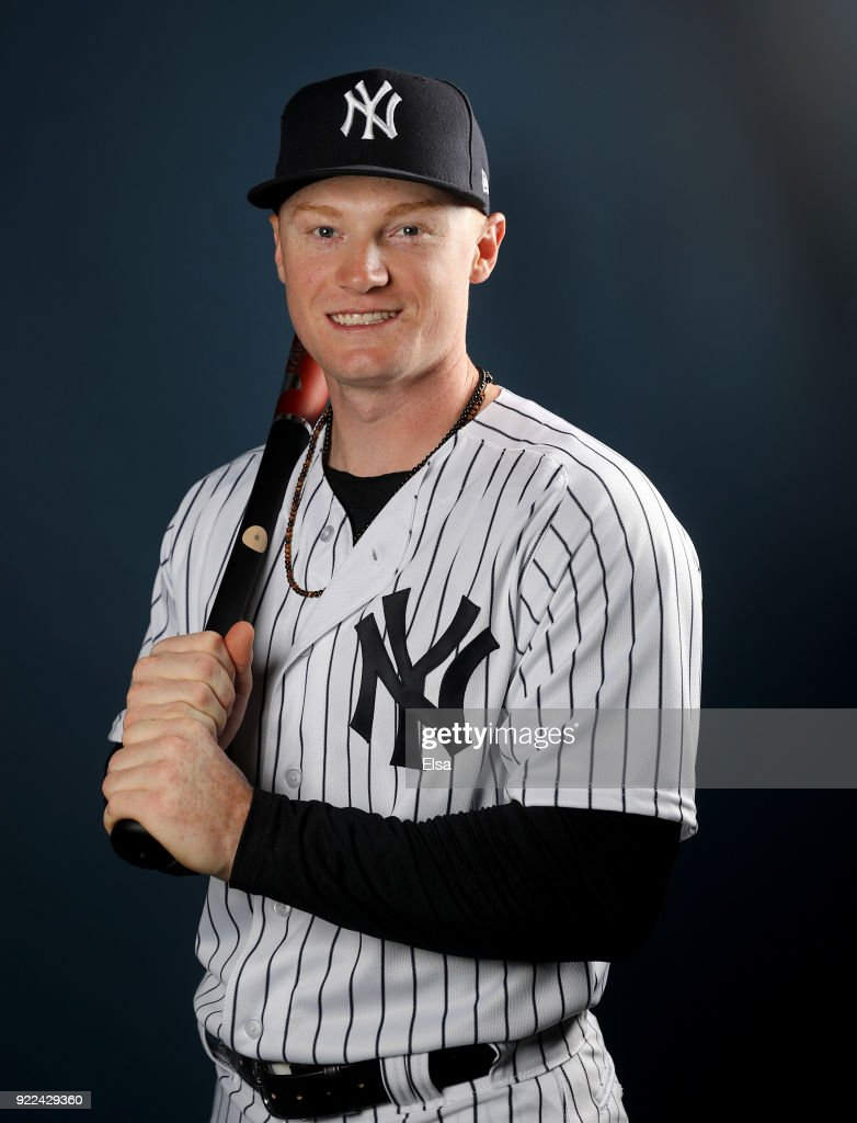 Clint Frazier #77 of the New York Yankees poses for a portrait during the New York Yankees photo day on February 21, 2018 at George M. Steinbrenner Field in Tampa, Florida.