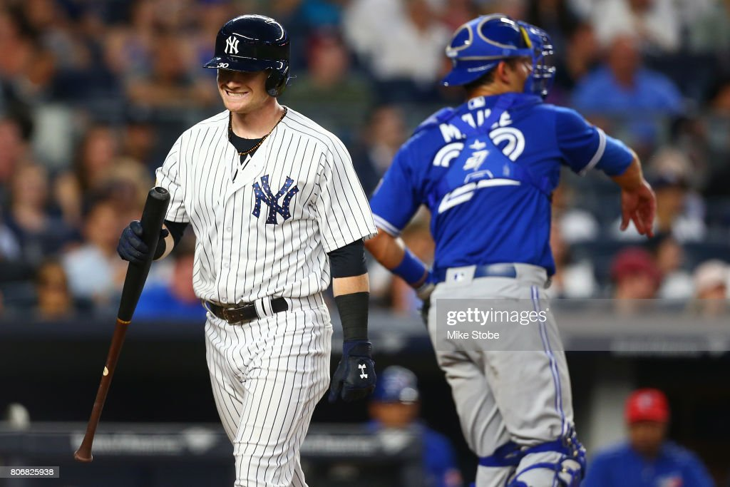 Clint Frazier #30 of the New York Yankees reacts after striking out in the fifth inning against the Toronto Blue Jays at Yankee Stadium on July 3, 2017 in the Bronx borough of New York City.