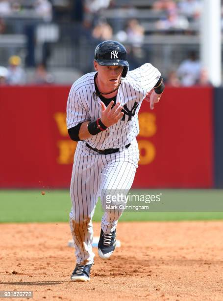 Clint Frazier of the New York Yankees runs the bases during the Spring Training game against the Detroit Tigers at George M Steinbrenner Field on...