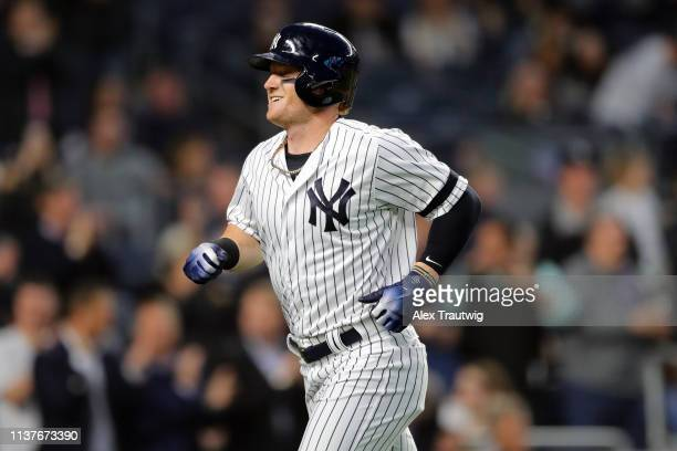 Clint Frazier of the New York Yankees smiles after hitting a solo home run in the fourth inning during the game between the Boston Red Sox and the...