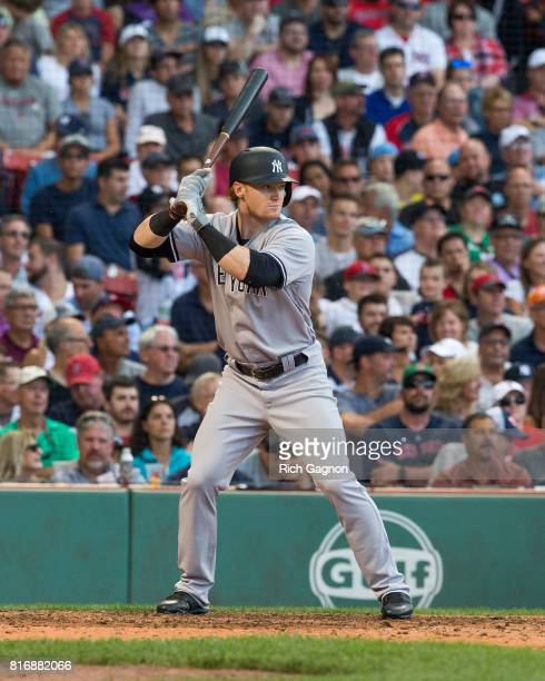 Clint Frazier of the New York Yankees stands at home plate during the seventh inning of a game against the Boston Red Sox at Fenway Park on July 15...