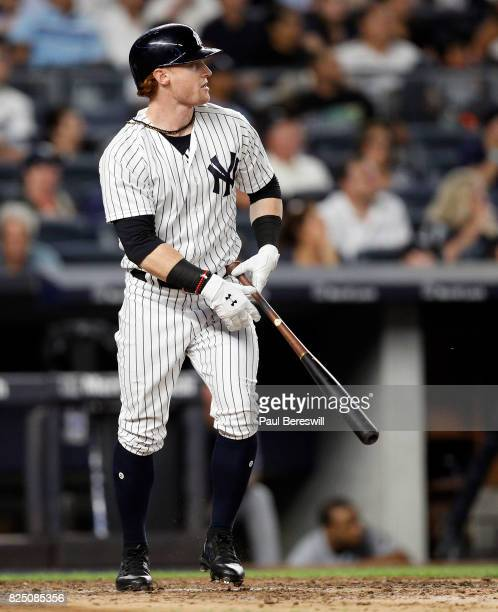 Clint Frazier of the New York Yankees stands in the box watching his home run clear the wall in the 5th inning of an MLB baseball game against the...
