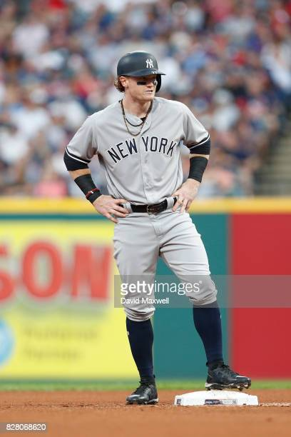 Clint Frazier of the New York Yankees stands on second base against the Cleveland Indians in the third inning at Progressive Field on August 3 2017...