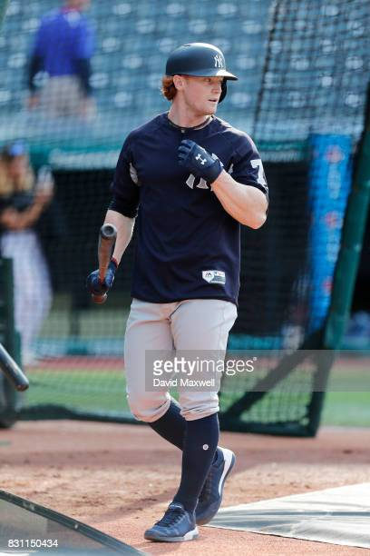 Clint Frazier of the New York Yankees takes batting practice before the game against the Cleveland Indians at Progressive Field on August 5 2017 in...