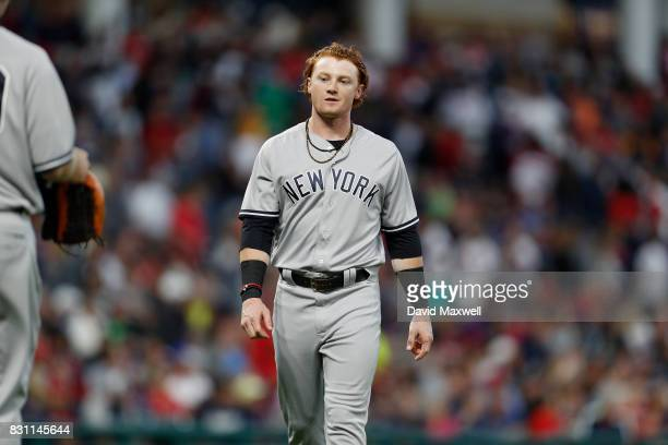 Clint Frazier of the New York Yankees takes the field against the Cleveland Indians in the fifth inning at Progressive Field on August 4 2017 in...