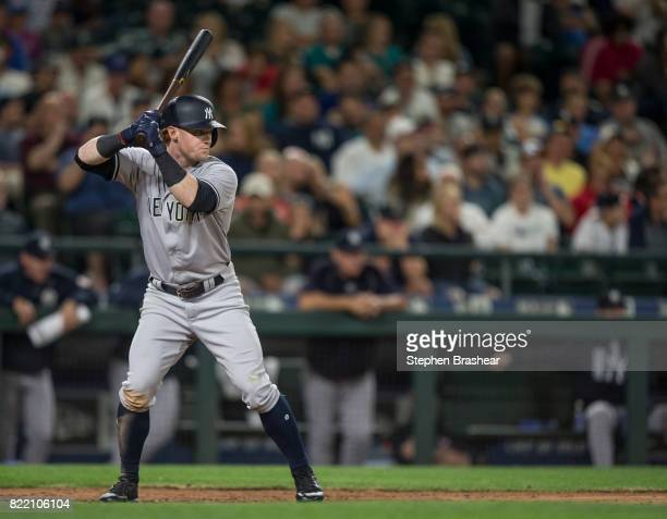 Clint Frazier of the New York Yankees waits for a pitch during an atbat in a game against the Seattle Mariners at Safeco Field on July 21 2017 in...