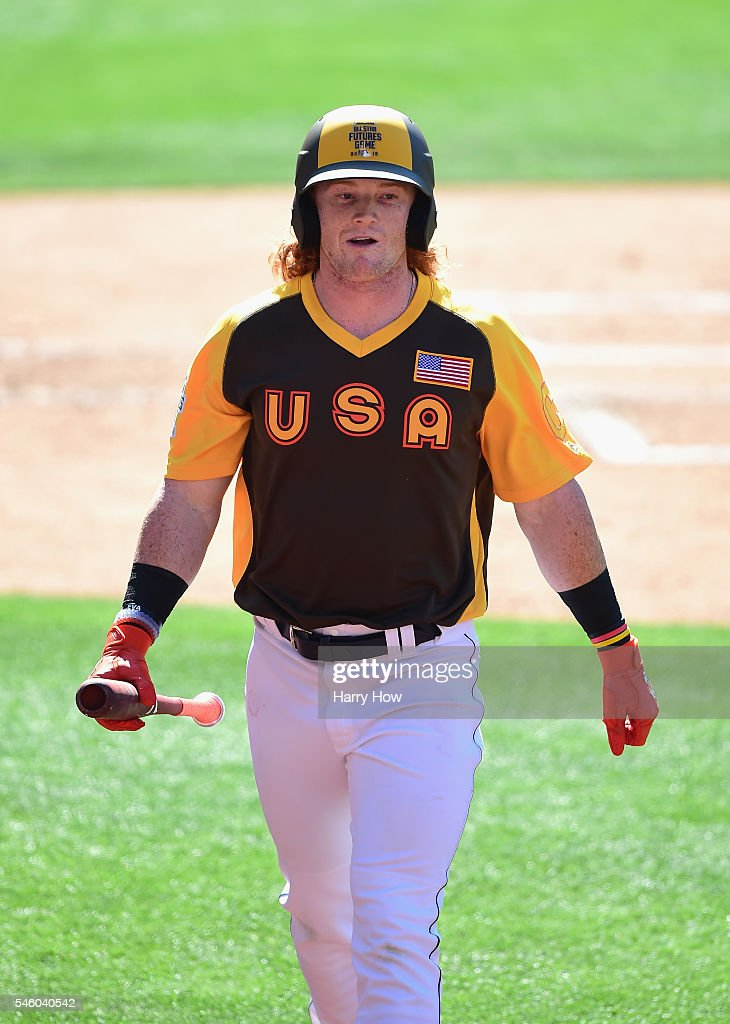 Clint Frazier of the U.S. Team reacts during the SiriusXM All-Star Futures Game at PETCO Park on July 10, 2016 in San Diego, California.