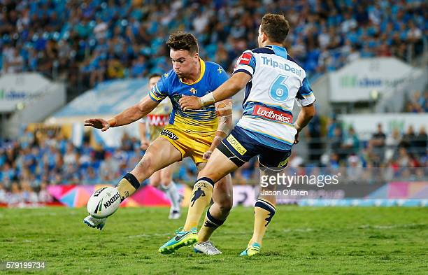 Clint Gutherson of the Eels gets a kick away during the round 20 NRL match between the Gold Coast Titans and the Parramatta Eels at Cbus Super...