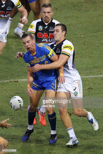 Clint Gutherson of the Eels is tackled during the NRL Trial match between the Penrith Panthers and Parramatta Eels at Pepper Stadium on February 18...