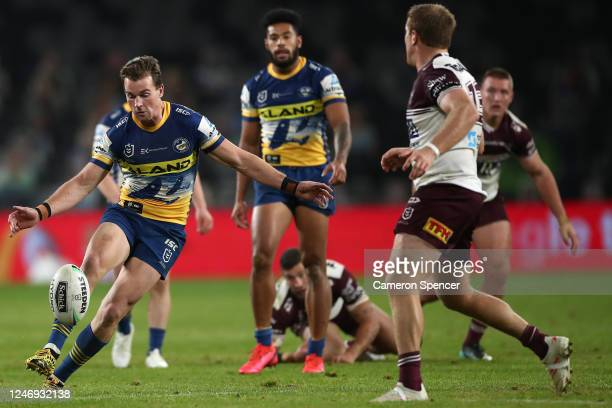 Clint Gutherson of the Eels kicks ahead during the round four NRL match between the Parramatta Eels and the Manly Sea Eagles at Bankwest Stadium on...