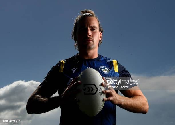Clint Gutherson of the Eels poses during a Parramatta Eels NRL media opportunity at Kellyville Park on February 22, 2021 in Sydney, Australia.
