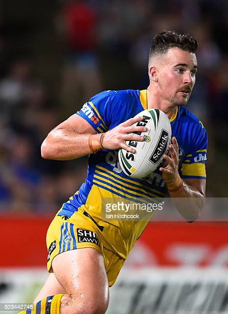 Clint Gutherson of the Eels runs the ball during the round eight NRL match between the North Queensland Cowboys and the Parramatta Eels at 1300SMILES...