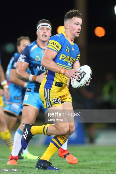 Clint Gutherson of the Eels runs the ball during the round three NRL match between the Gold Coast Titans and the Parramatta Eels at Cbus Super...