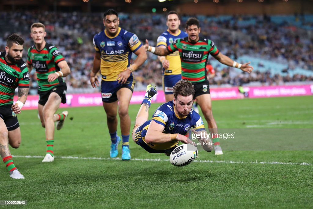 Clint Gutherson of the Eels scores a try during the round 20 NRL match between the South Sydney Rabbitohs and the Parramatta Eels at ANZ Stadium on July 28, 2018 in Sydney, Australia.
