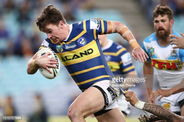 Clint Gutherson of the Eelsruns the ball during the round 21 NRL match between the Parramatta Eels and the Gold Coast Titans at ANZ Stadium on August...