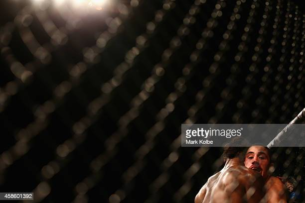 Clint Hester and Robert Whittaker grapple in their middleweight fight during the UFC Fight Night 55 event at Allphones Arena on November 8 2014 in...