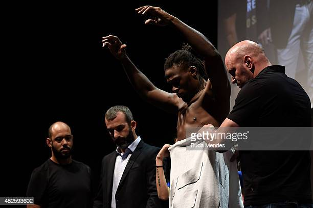 Clint Hester of the United States steps onto the scale during the UFC 190 Rousey v Correia weigh-in at HSBC Arena on July 31, 2015 in Rio de Janeiro,...