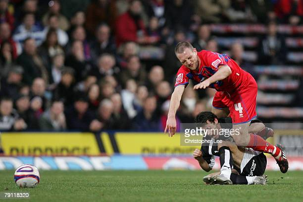 Clint Hill of Palace battles with Ivan Sproule of Bristol during the CocaCola Championship match between Crystal Palace and Bristol City at Selhurst...