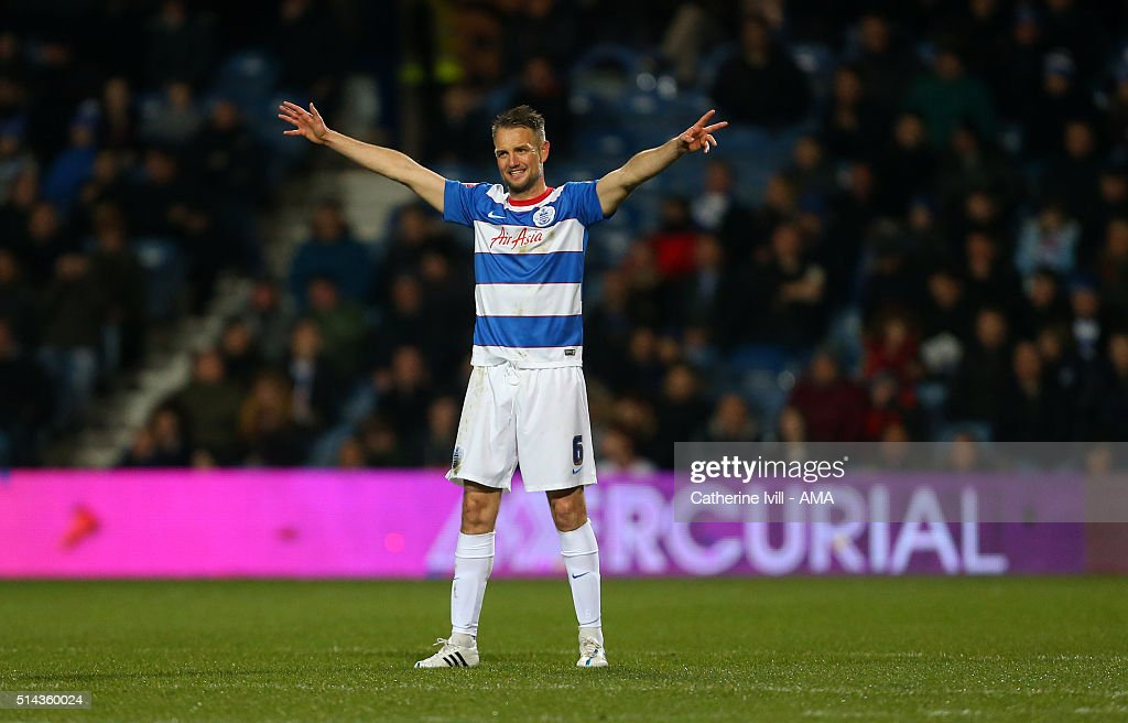 Clint Hill of Queens Park Rangers during the Sky Bet Championship match between Queens Park Rangers and Derby County at at Loftus Road on March 8, 2016 in London, England.